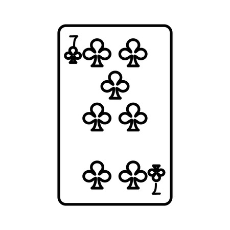 line seven clovers casino card game vector illustration