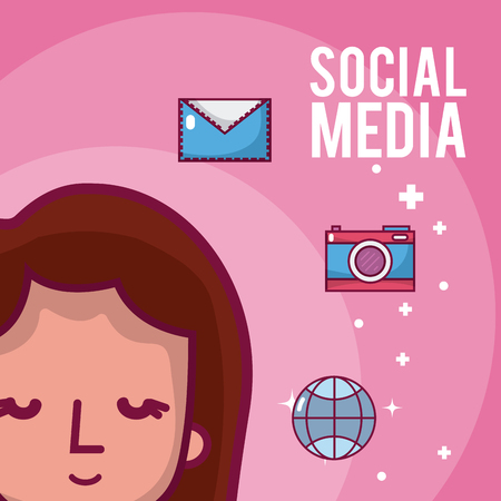 Girl with social media and network symbols cartoons vector illustration graphic design