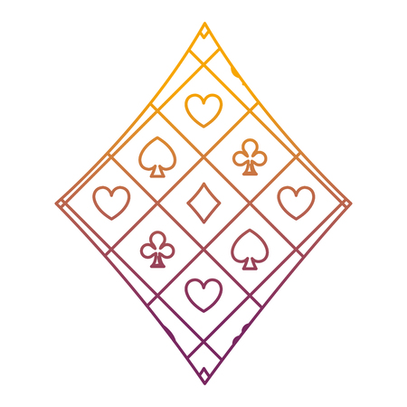 degraded line diamond casino poker game symbol vector illustration