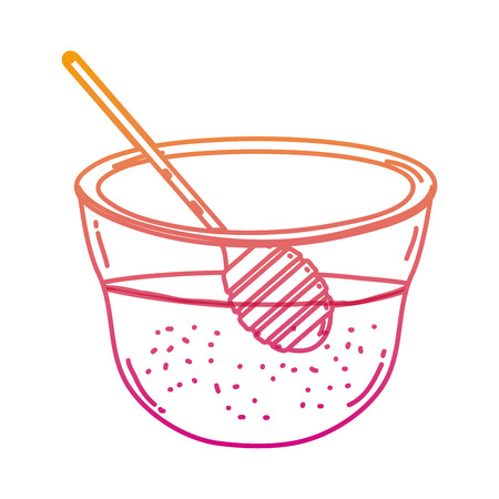 degraded line delicious honey in the bowl with dipper tool vector illustration