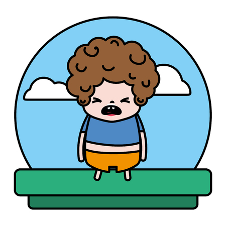 color embarrassed boy with t-shirt and pant in the landscape vector illustration