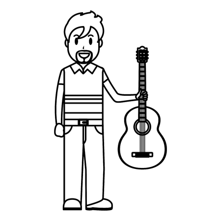 line happy musician with guitar instrument in the hand vector illustration