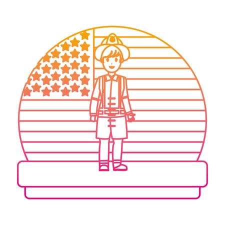 pompier de ligne dégradé avec illustration vectorielle uniforme et usa nation drapeau