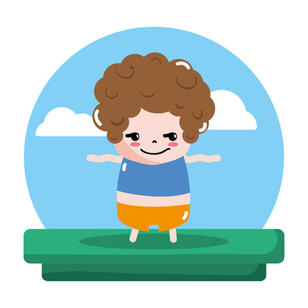 rogue boy with t-shirt and pant in the landscape vector illustration
