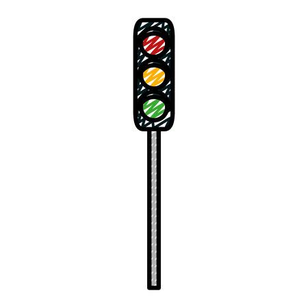doodle traffic light road sign object vector illustration