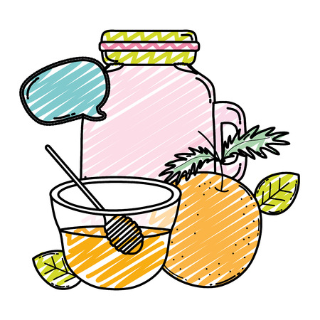 doodle orange juice in the jar with honey and chat bubble vector illustration Vector Illustration