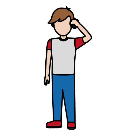 Niño de color llamando con ilustración de vector de teléfono inteligente social