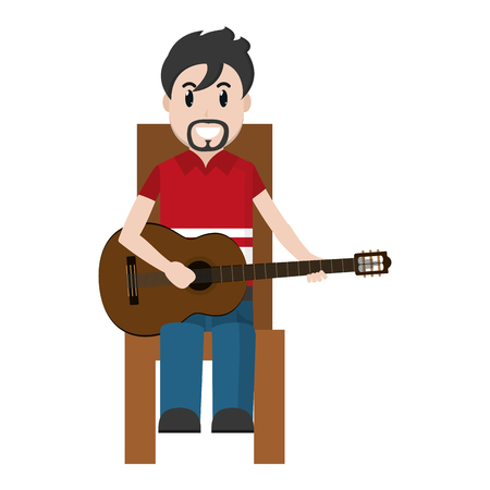 happy musician sitting to play guitar vector illustration Illustration