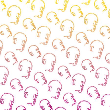 degraded line headphone modern music object background vector illustration