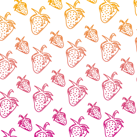 degraded line delicious strawberry organic fruit background vector illustration