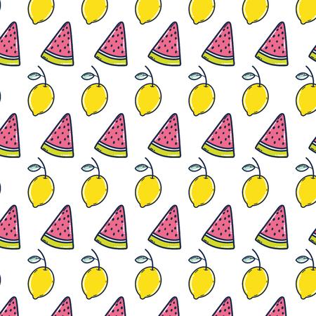 delicious watermelon and lemon fruit background vector illustration