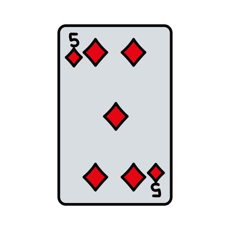 color five diamonds casino card game vector illustration