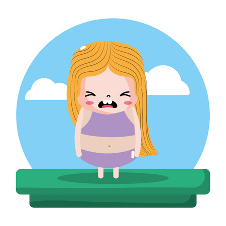 pity girl with blouse and short in the landscape vector illustration