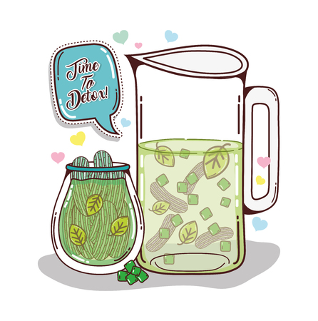 Detox juice cartoon with cucumbers and leaves mason jar vector illustration graphic design
