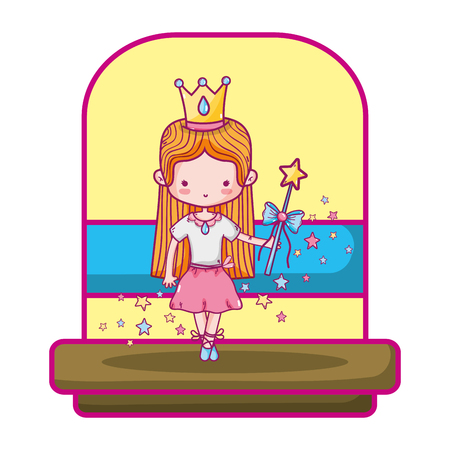 ballerina girl with crown and magic wand vector illustration