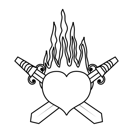 line swords weapon inside heart with passion fire vector illustration