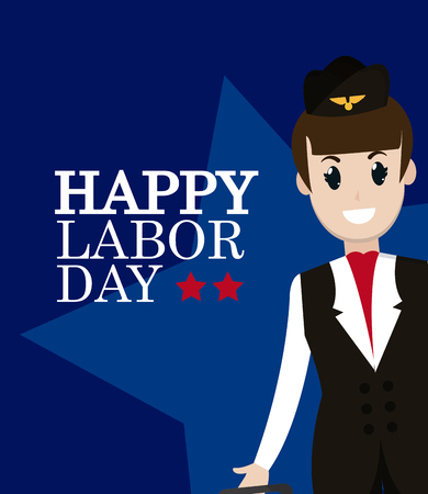 Happy labor day card with stewardess cartoon vector illustration graphic design
