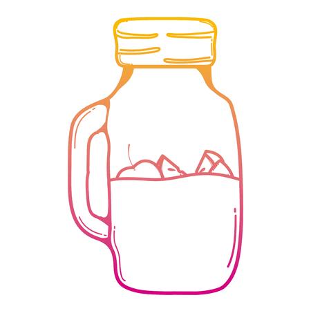 degraded line mason jar with apples fruits preserve vector illustration Illusztráció