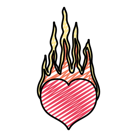 doodle heart passion with heard fire style vector illustration