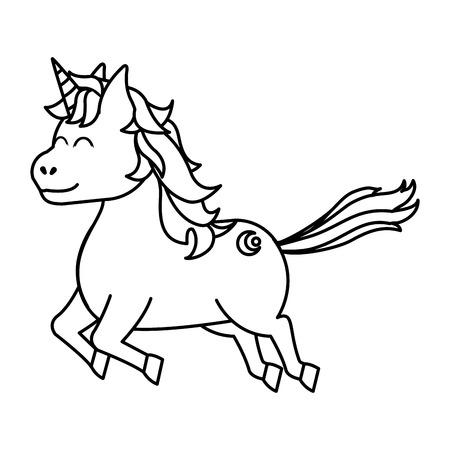 line cute unicorn with arrow tattoo style vector illustration