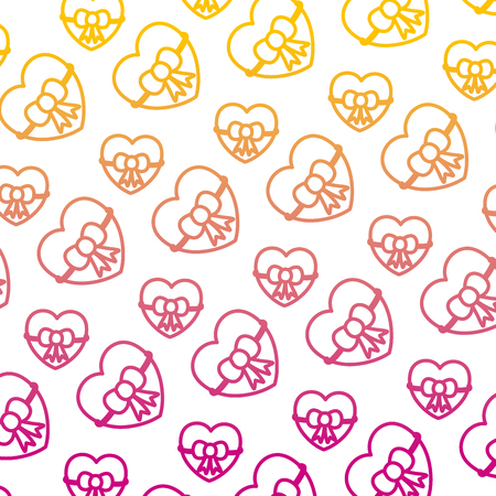 degraded line beauty heart with ribbon bow background