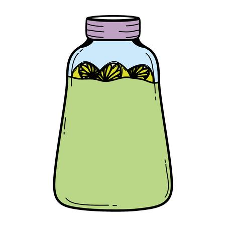 color mason jar with lemons fruits preserve vector illustration