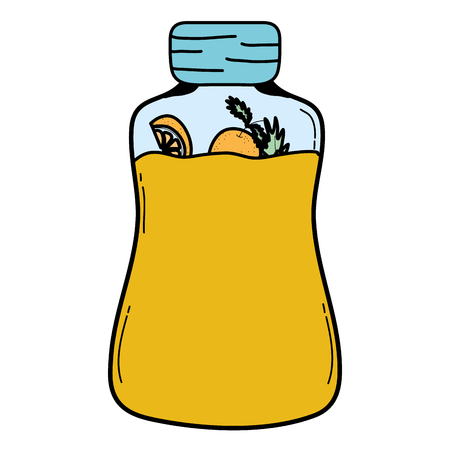 color mason jar with organic oranges preserve vector illustration