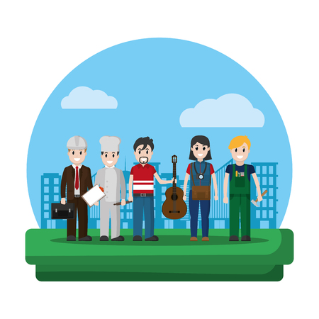 professional people carrer job in the city vector illustration