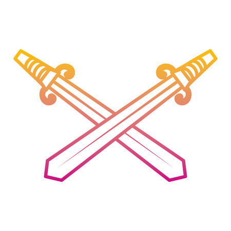 degraded line swords medieval weapon steel design vector illustration Illustration