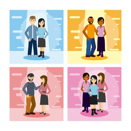 Set of young couple cartoons cards collection vector illustration graphic design Vectores