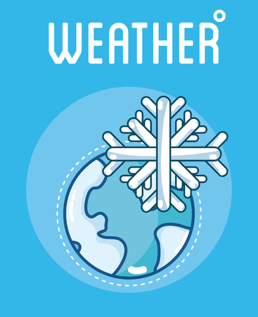 Weather season card with snowy world vector illusttration graphic design