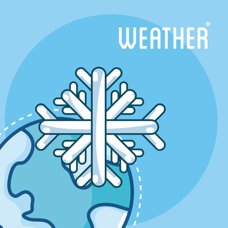 Snowflake on earth weather card vector illusttration graphic design Vectores