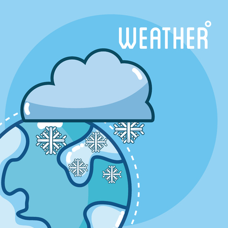 Snowy weather on earth cute card vector illusttration graphic design