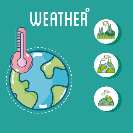 Set of world weather round icons collection vector illusttration graphic design