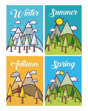 Set of weather cards collection vector illusttration graphic design