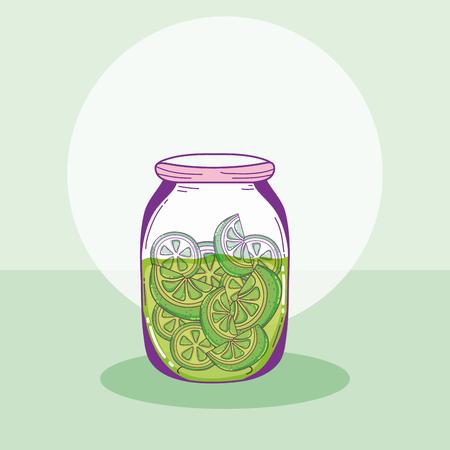 Lemons slices in mason jar drawings vector illustration graphic design Ilustração