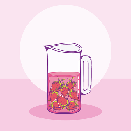 Strawberries juice in mason jar drawing vector illustration graphic design