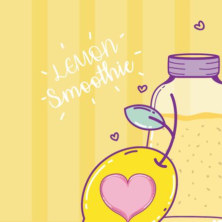 Lemon smoothie sweet drink in mason jar vector illustration graphic design Ilustração