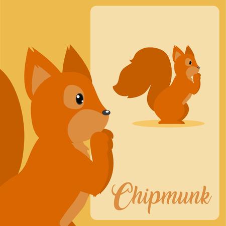 Chipmunk Cute animal cartoon over colorful background vector illustration graphic design Ilustración de vector