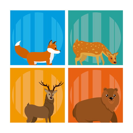 Set of of Cute animals cards vector illustration graphic design