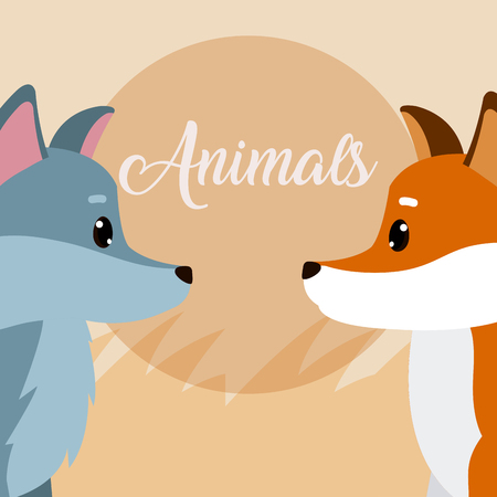 Cute animals cartoons over colorful background vector illustration graphic design