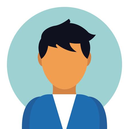 Man avatar profile on round icon vector illustration graphic design  イラスト・ベクター素材