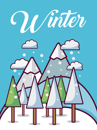 Weather winter landscape cute card vector illusttration graphic design