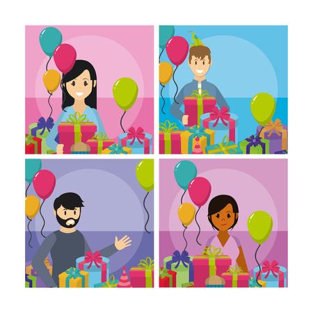 Set of party celebration cartoons cards vector illustration graphic design Illustration