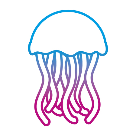 degraded line exotic jellyfish marine animal with tentacles