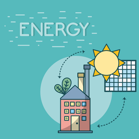 Building with solar panels energy vector illustration graphic design 矢量图像