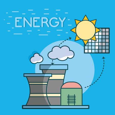 Solar panel and nuclear plants vector illustration graphic design