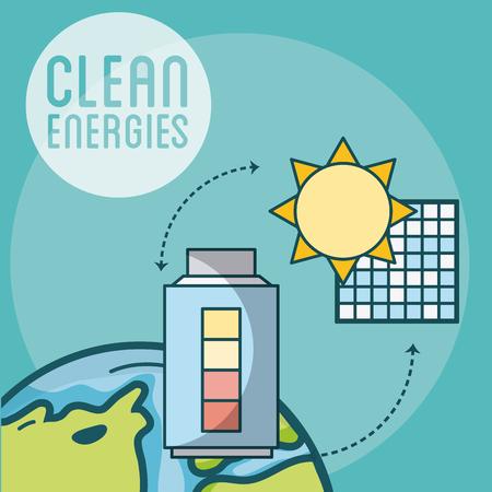 Panneau solaire et conception graphique d'illustration vectorielle d'énergie de batterie électrique