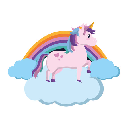 beauty unicorn standing in the clouds with rainbow vector illustration