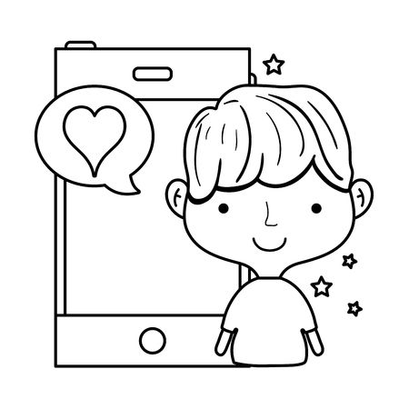 line man with smartphone and love chat bubble message vector illustration Illustration